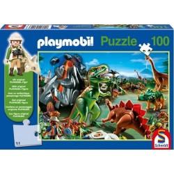 Puzzle 100 el. PLAYMOBIL W świecie dinozaurów + figurka