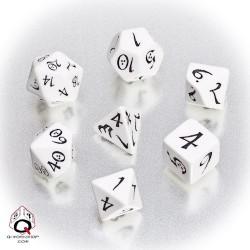 Komplet 7 kości klasyczny Biało-czarny