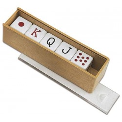 Kości pokerowe w drewnianym pudełku (075)