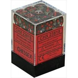 36x KOŚCI CHESSEX BITEWNE 12mm KRYSZTAŁY SMOKE/RED