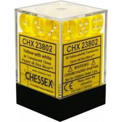 36x KOŚCI CHESSEX BITEWNE 12mm KRYSZTAŁY YELLOW/WHITE