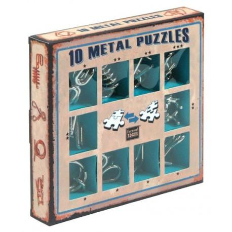 Łamigłówki metalowe 10 szt. ZESTAW NIEBIESKI